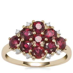 Cruzeiro Rubellite Ring with Diamond in 9K Gold 1.63cts