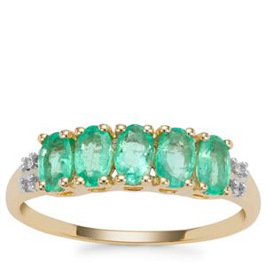 Colombian Emerald Ring with Diamond in 9K Gold 0.95ct