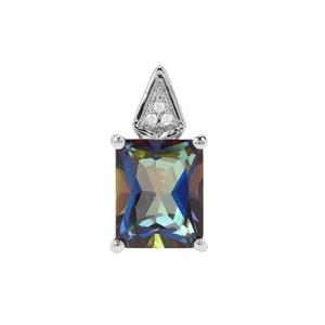 Mystic Blue Topaz Pendant with White Zircon in Sterling Silver 3.91cts