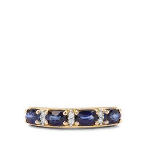 Ceylon Blue  Sapphire & White Zircon 9K Gold Ring ATGW 1.40cts