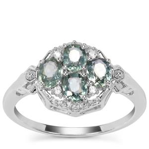 Natural Umba Sapphire Ring with White Zircon in Sterling Silver 1.36cts