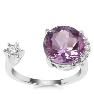 Lone Star Bahia Amethyst Ring with White Zircon in Sterling Silver 3.96cts