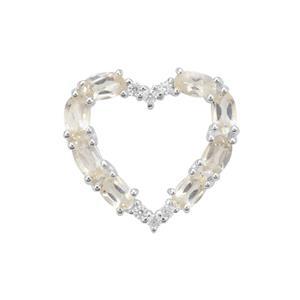 Serenite & White Zircon Sterling Silver Heart Pendant ATGW 1.95cts