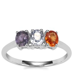 Rainbow Sapphire Ring in Sterling Silver 1.42cts