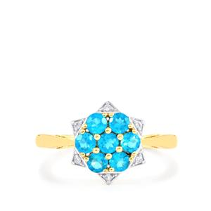 Neon Apatite Ring with White Zircon in 10k Gold 0.80cts