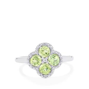 Pakistani Peridot Ring with White Zircon in Sterling Silver 1.25cts
