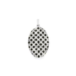 Black Spinel Pendant with White Zircon in Sterling Silver 1.88cts