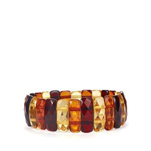 Baltic Cognac, Champagne & Cherry Amber Elasticated Bracelet (17x7mm)
