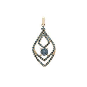 Blue Diamond Pendant in 9K Gold 1cts