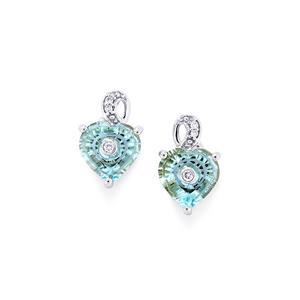 Lehrer TorusRing Sky Blue Topaz Earrings with Diamond in 10k White Gold 3.46cts
