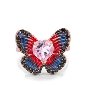 Rose De France Amethyst, Black Spinel & Blue Sapphire Midas Ring ATGW 1.95cts