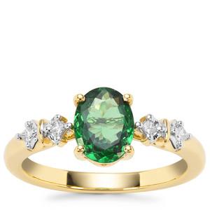 Tsavorite Garnet Ring with Diamond in 18K Gold 1.33cts