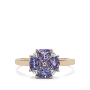 AA Tanzanite & Diamond 9K Gold Ring ATGW 1.16cts