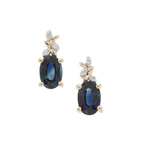 Australian Blue Sapphire Earrings with Diamond in 9K Gold 1.18cts