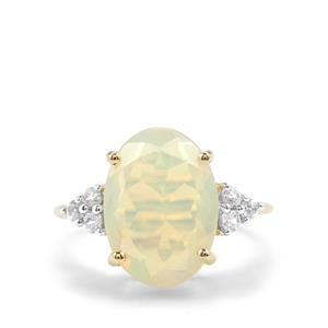 Ethiopian Opal Ring with White Zircon in 9K Gold 3.92cts