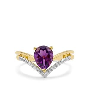 Zambian Amethyst Ring with White Zircon in Gold Plated Sterling Silver 1.55cts