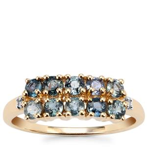 Tunduru Colour Change Sapphire Ring with White Zircon in 9K Gold 1.11cts