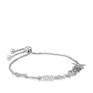 "9"" Sterling Silver Altro Slider Aquatic Bracelet 3.49g"