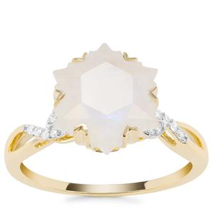 Wobito Snowflake Cut Rainbow Moonstone Ring with Diamond in 9K Gold 4.30cts