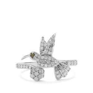 1/2ct White & Green Diamond Sterling Silver Bird design Ring