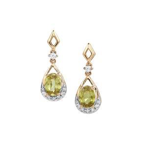 Ambilobe Sphene & White Zircon 10K Gold Earrings ATGW 2.20cts