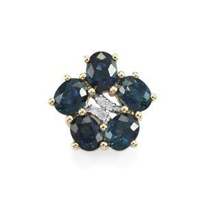 Australian Blue Sapphire & Diamond 9K Gold Pendant ATGW 1.57cts