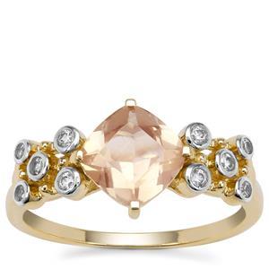 Peach Parti Oregon Sunstone Ring with White Zircon in 9K Gold 1.60cts