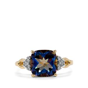 Mystic Blue Topaz Ring with Diamond in 9K Gold 3.74cts