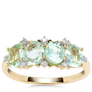 Paraiba Tourmaline Ring with Diamond in 9K Gold 1.54cts