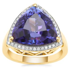 AAA Tanzanite Ring with White Diamond in 18K Gold 10.39cts
