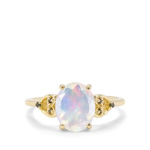 Kelayi Opal & Green Diamond 9K Gold Ring ATGW 1.37cts