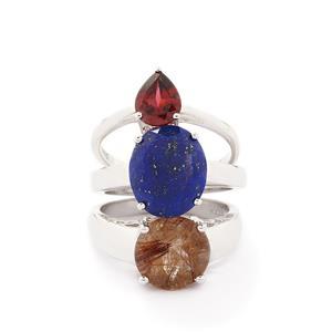 Rutile Quartz, Sar-i-Sang Lapis Lazuli & Rajasthan Garnet 925 Set of 3 Rings ATGW 9.31cts