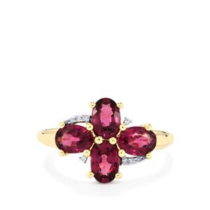 Comeria Garnet Ring with Diamond in 10k Gold 2.35cts