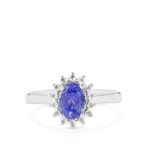 AA Tanzanite Ring with White Topaz in Sterling Silver 1.36cts