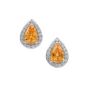 Mandarin Garnet Earrings with White Zircon in 9K Gold 1.30cts