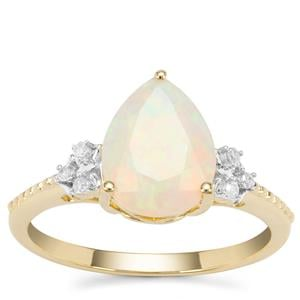 Ethiopian Opal Ring with Diamond in 9K Gold 1.36cts