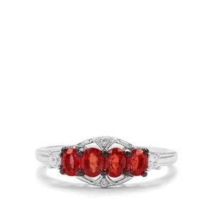Songea Ruby & White Zircon 9K White Gold Ring ATGW 1.06cts