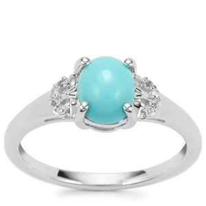 Sleeping Beauty Turquoise Ring with White Topaz in Sterling Silver 1.15cts