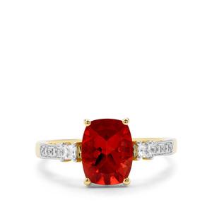 Red Labradorite & White Zircon 9K Gold Ring ATGW 1.85cts