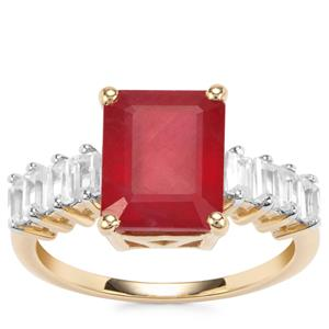 Malagasy Ruby Ring with White Zircon in 9K Gold 6.20cts (F)