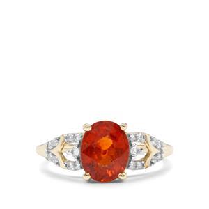 Tangerine Garnet & Sri Lankan Sapphire 9K Gold Ring ATGW 2.64cts