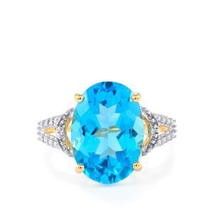 Swiss Blue Topaz & White Zircon 9K Gold Ring ATGW 7.55cts