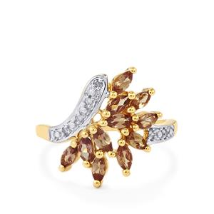 Bekily Colour Change Garnet & Diamond 10K Gold Ring ATGW 1.08cts