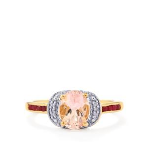 Alto Ligonha Morganite, Malagasy Ruby & Diamond 10K Gold Ring ATGW 1.30cts (F)