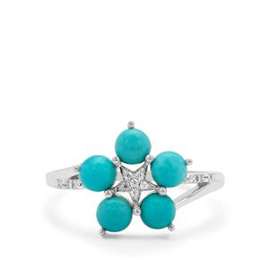 Sleeping Beauty Turquoise & White Zircon Sterling Silver Ring ATGW 1.29cts
