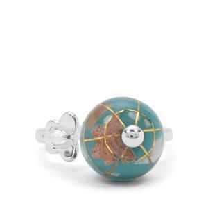 Atlas Globe White Zircon Sterling Silver Ring