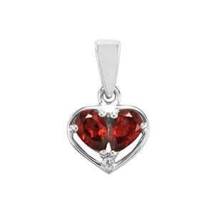 Nampula Garnet Pendant with White Topaz in Sterling Silver 0.95cts