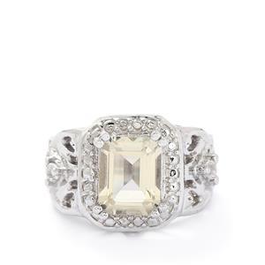 Serenite & White Topaz Sterling Silver Ring ATGW 2.28cts