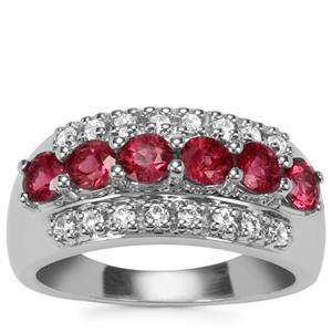 Pink Tourmaline Ring with White Topaz in Sterling Silver 1.31cts