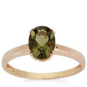 1ct Moldavite 9K Gold Ring